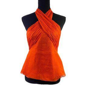 Orange Silk Halter Tank Top